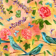 Seamless Pattern With Flowers, Butterflies, Birds And Leaves