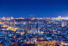 Barcelona Skyline Panorama At Night, Spain