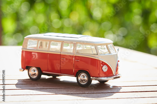 VW figurine bus as a symbol for holiday Poster