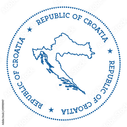 Croatia vector map sticker. Hipster and retro style badge with ...