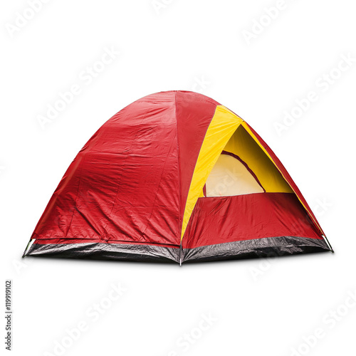 Poster Camping Red dome tent