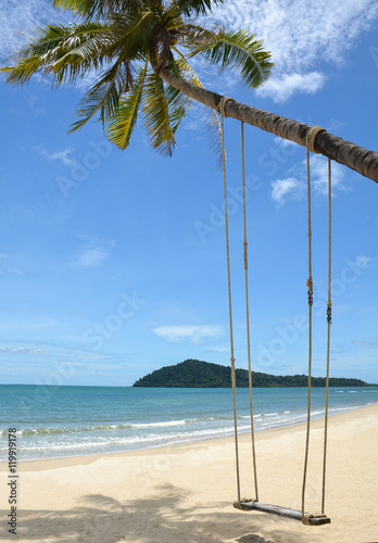 Foto op Canvas Tropical strand Swing hang from coconut tree over beach,Koh Chang Thailand.