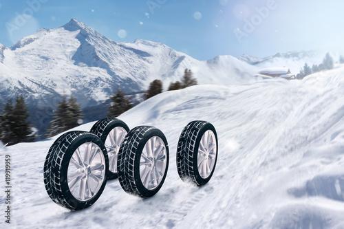Fotografia, Obraz  Reifen auf Winterstraße