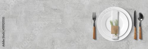 Poster Restaurant Schlichtes Tischgedeck - Banner / Hintergrund - Textfreiraum