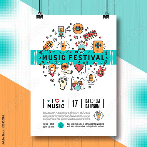Music Festival Poster Template A4 Size Infographics Trendy Icons Line Art Style