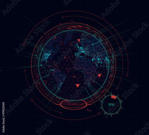Zdjęcie XXL Cyfrowe holograficzny ziemskiej futurystyczny interfejs sci-fi. Wektor
