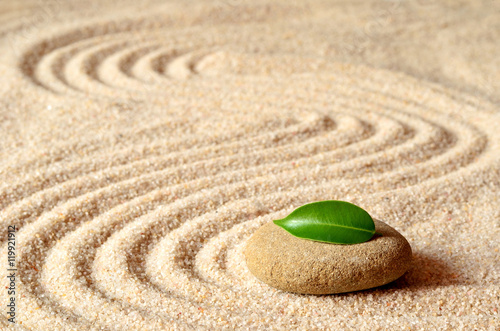 Deurstickers Stenen in het Zand stones and green leaf on the sand with circles