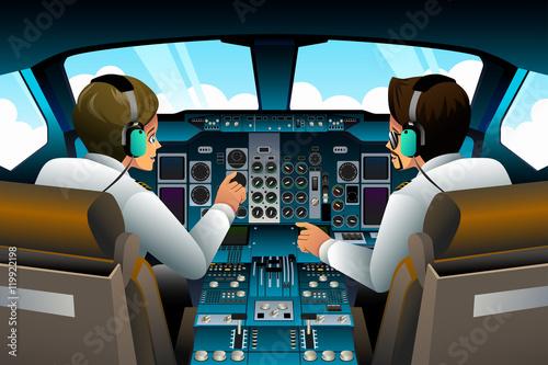 Vászonkép Pilots in Cockpit