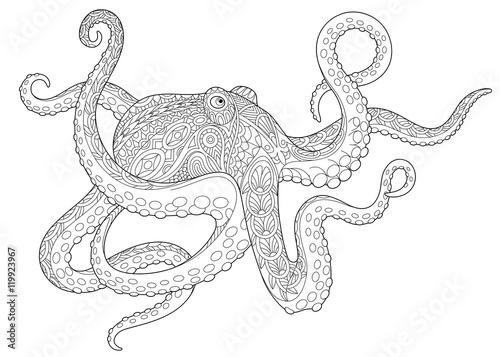 Fotografie, Obraz  Stylized underwater octopus (poulpe, cuttlefish, squid, devilfish)
