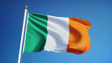 Ireland Flag Waving Against Clean Blue Sky, Close Up, Isolated With Clipping Path Mask Alpha Channel Transparency