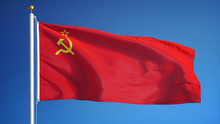 The Union Of Soviet Socialist Republics Flag Waving Against Sky, Close Up, Isolated With Clipping Path Mask Alpha Channel Transparency, Black White Matte