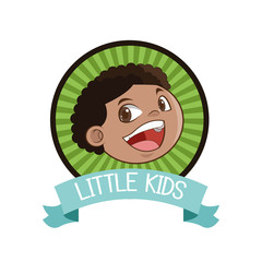 little boy kid cartoon inside seal stamp with ribbon icon. Vector illustration