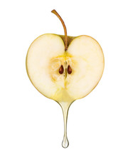 Juice In The Form Of Drop Flowing From Fresh Apple On White Back