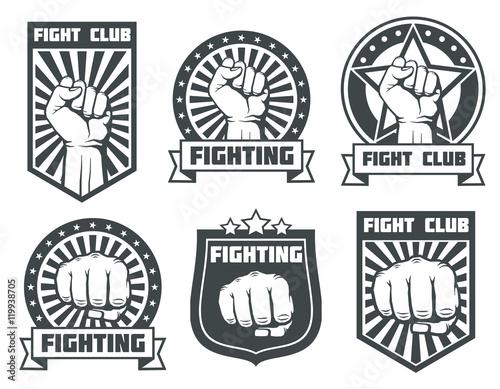 Fototapeta Fight club with fist vintage labels, logos, emblems vector set