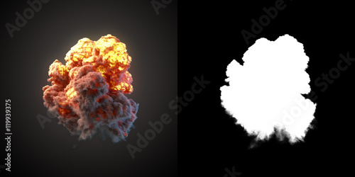 Fotografie, Obraz  Large explosion with black smoke in dark 3d rendering