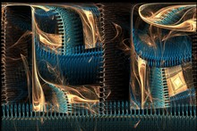 Abstract Fractal Magic Brown And Blue Unsymmetrical Image