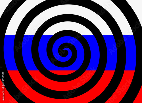 Fotografie, Obraz  Hypnotic spiral and flag of russia as metaphor of russian propaganda - manipulat