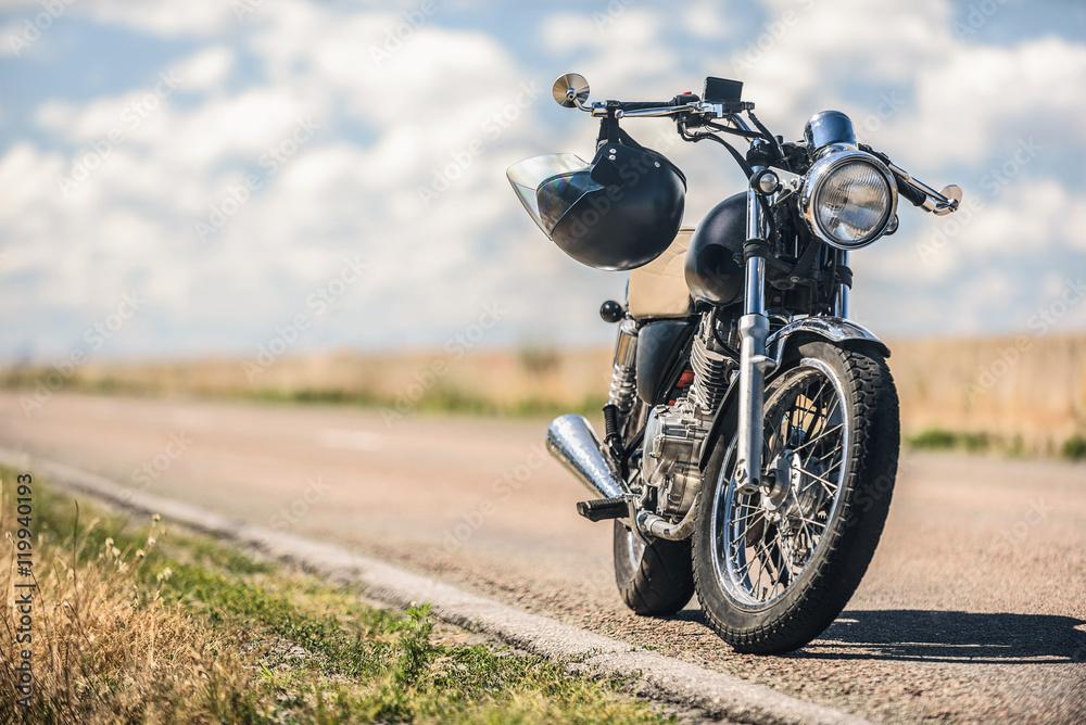 Fototapeta Motorcycle parking on road