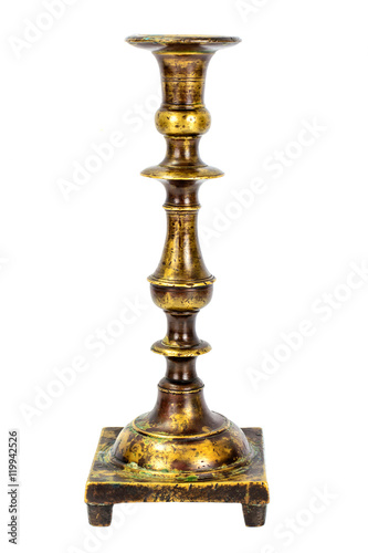 Photo Old Metal Brass Candlestick Isolate on White