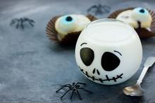Halloween Dessert Cream Jelly Jack Skeleton, Fun Food Ideas