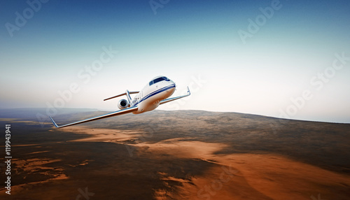 Fototapeta Realistic Photo White Luxury Generic Design Airplane.Private Jet Cruising High Altitude, Flying Over Mountains.Empty Blue Sky with Sun Background. Business Travel Concept. Horizontal. 3D rendering. obraz na płótnie