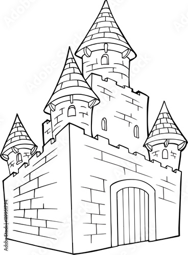 Poster Cartoon draw Cute Doodle Castle Vector Illustration Art