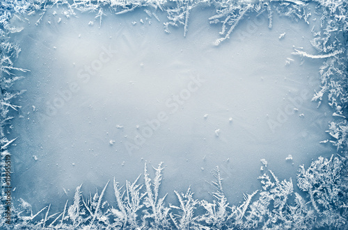Fotografie, Obraz  Frost Crystal Border on Ice