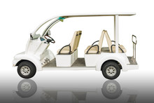 Electric Golf Car On Isolate White Background.