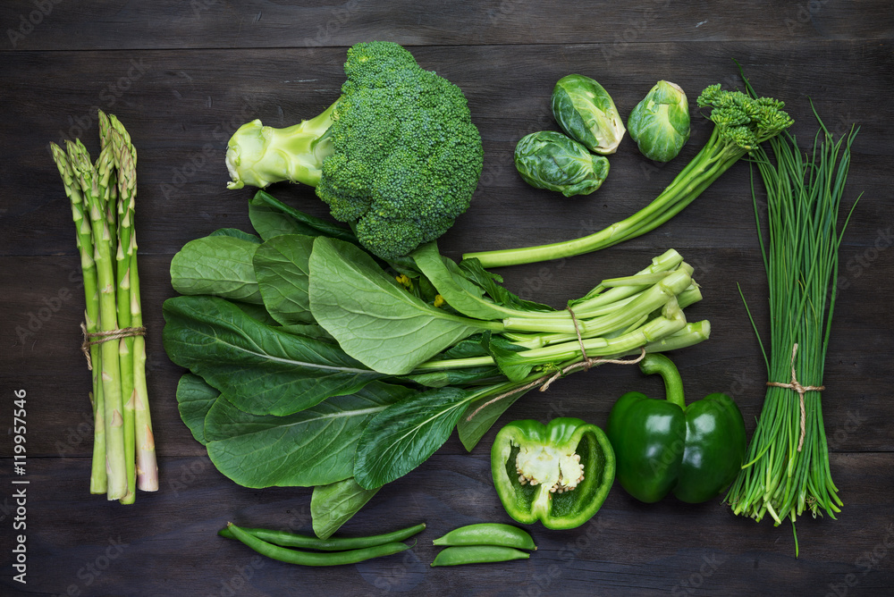 Fresh green organic vegetables