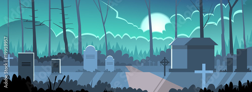 Halloween Banner Cemetery Graveyard Grave Stone Night Fototapet