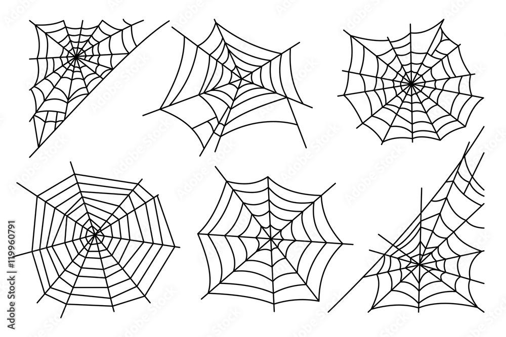Fototapeta Halloween spider web isolated on white background. Hector venom cobweb set. Vector illustration