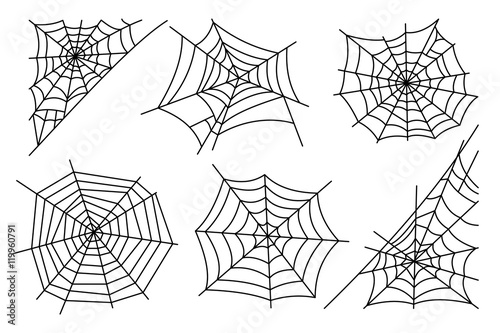 Fotografia Halloween spider web isolated on white background