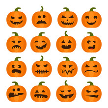 Vector Halloweens Pumpkin Set ...