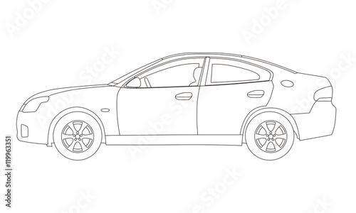 generic four door sedan car side view line drawing illustration buy this stock vector and. Black Bedroom Furniture Sets. Home Design Ideas