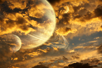 Beautiful sunset with storm sky and planets