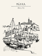 Yachts And Church In Port Of Mgarr, Gozo Island, Malta. Beautiful Marina. Hand Drawn Vintage Travel Postcard, Postcard Template, Book Illustration