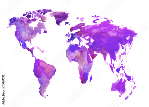 Photo  Watercolor world map