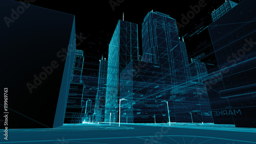 plakat Digital skyscrappers with wireframe texture. Technology and conn