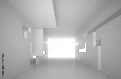 3d illustration. White interior of a non-existent building. The walls of the room with rectangular holes, multilevel ceiling. Light in perspective. Architectural minimal background, render. © struvictory