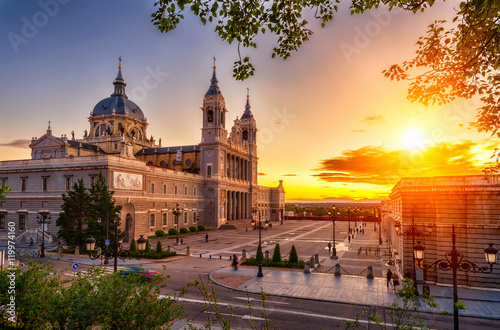 Sunset view of Cathedral Santa Maria la Real de La Almudena in Madrid, Spain