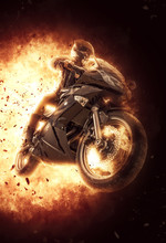 Woman On A Motor Bike On Exploding Background