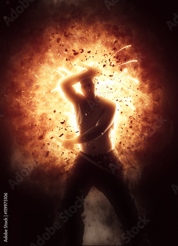 Man with katana over explosion background Poster