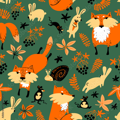 Cotton fabric Vector autumn seamless pattern with animals and florals