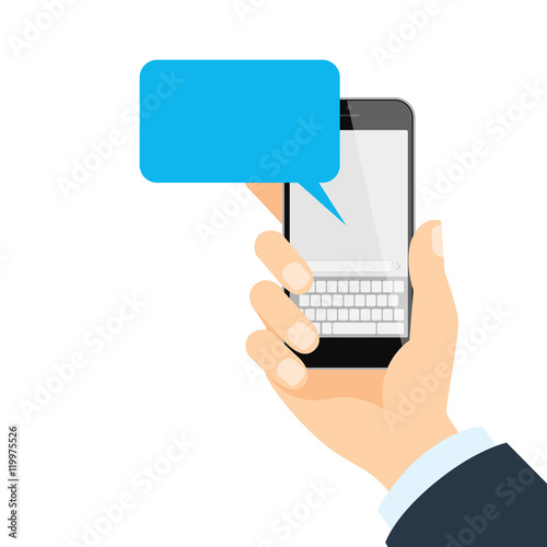 smartphone with message isolated hand holding smartphone with blank
