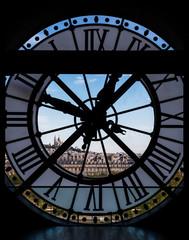 Fototapeta Architektura View through d'orsay museum clock tower of Sacre-Coeur Basilica.