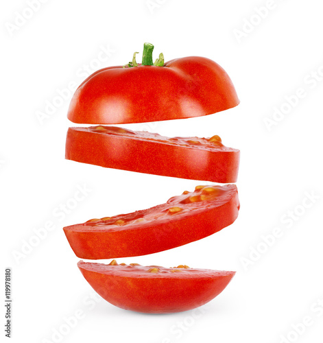 Fotografie, Obraz  The sliced tomato isolated on white background