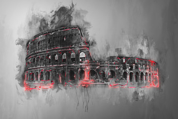 Fototapeta Fine art painting of the Colosseum, Rome