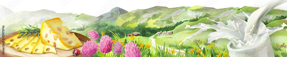 Panoramic image of milk splash, cheese and landscape. Can be used for kitchen skinali. Watercolor