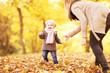 canvas print picture - erste Schritte mit dem Kind