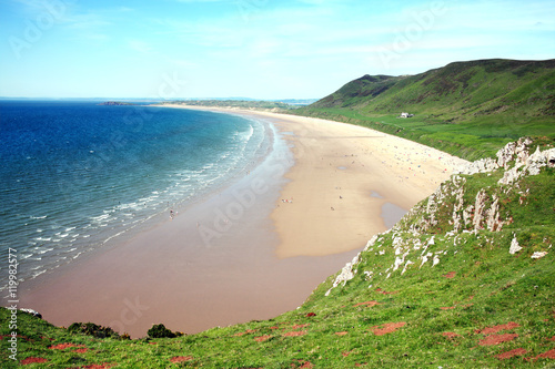 Rhossili Bay, Rhossili, on the Gower Peninsular, West Glamorgan, Wales, UK, whic Canvas Print